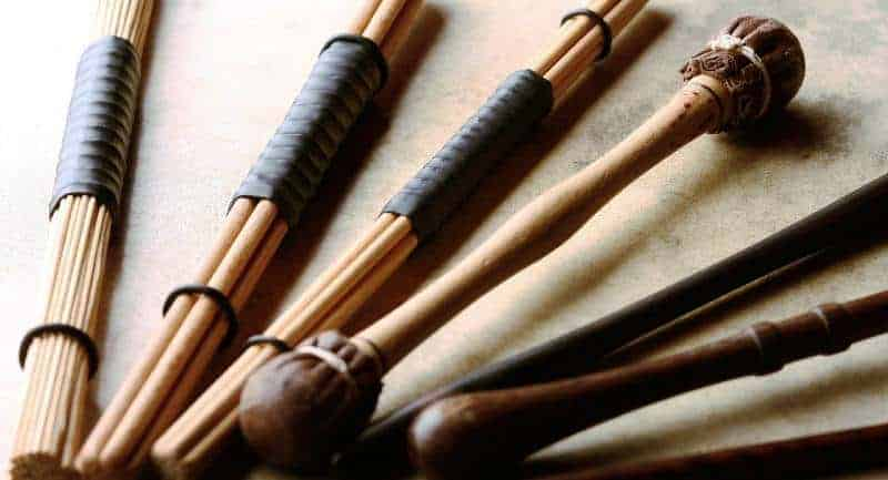 Misc drum sticks of natural materials for creating rhythm